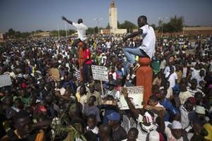 Protesters gather at Place de la Nation in Ouagadougou, capital of Burkina Faso