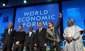 WEF Bill Clinton, Bill Gates, Thabo Mbeki, Tony Blair, Bono, Olusegun Obasanjo - World Economic Forum Annual Meeting Davos 2005