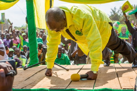 CCM presidential candidate, John Magufuli demonstrates fitness for office at recent rally